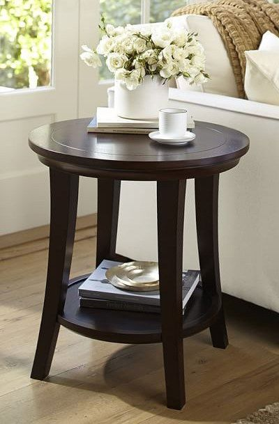 Metropolitan Round Side Table Table Decor Living Room Wood Side