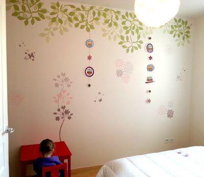 Chambre fille   peinture murale au pochoir - Lapodoud Chambre