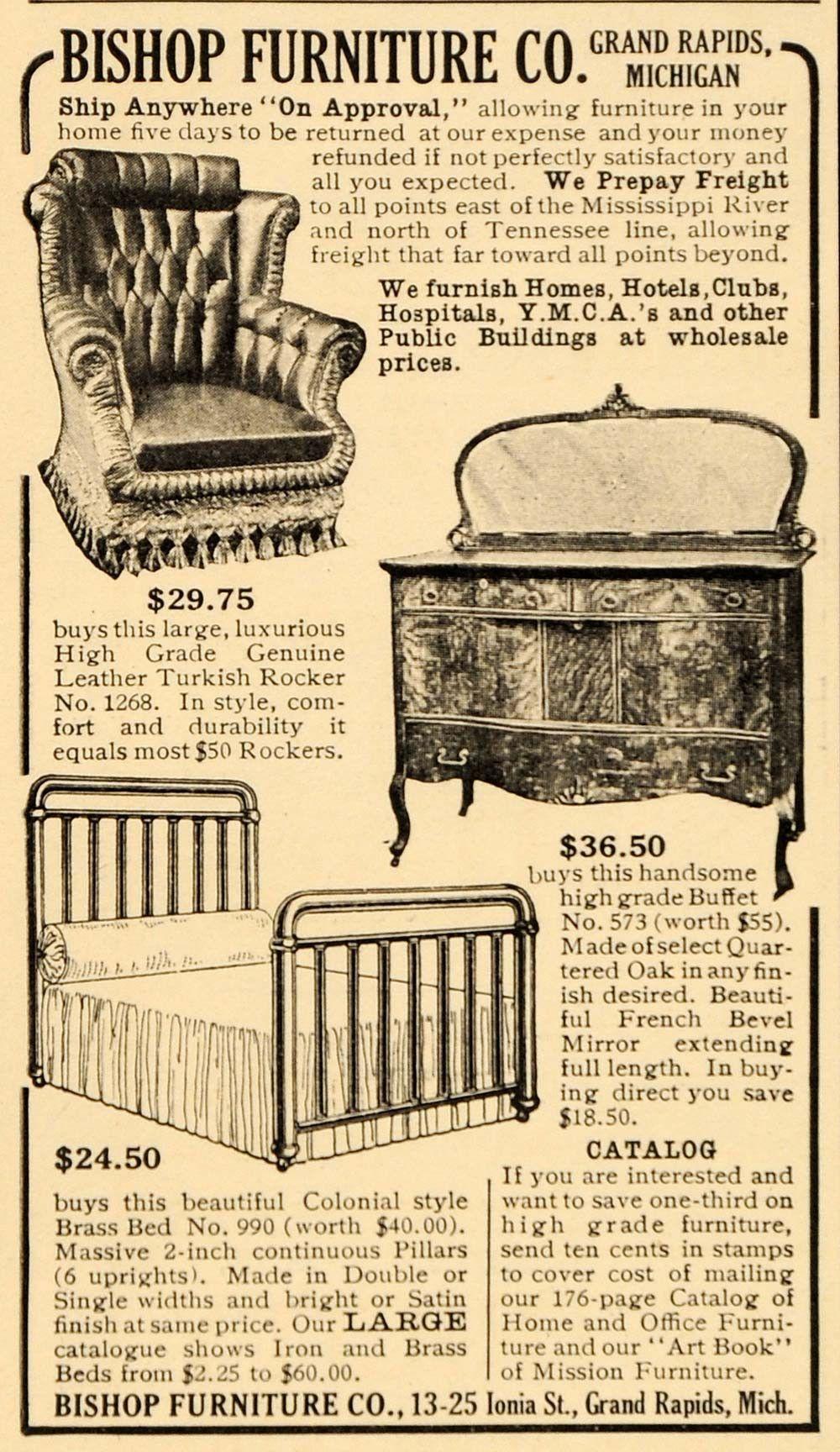 Delightful 1909 Ad Bishop Furniture Company Turkish Rocker Buffet   ORIGINAL OD3