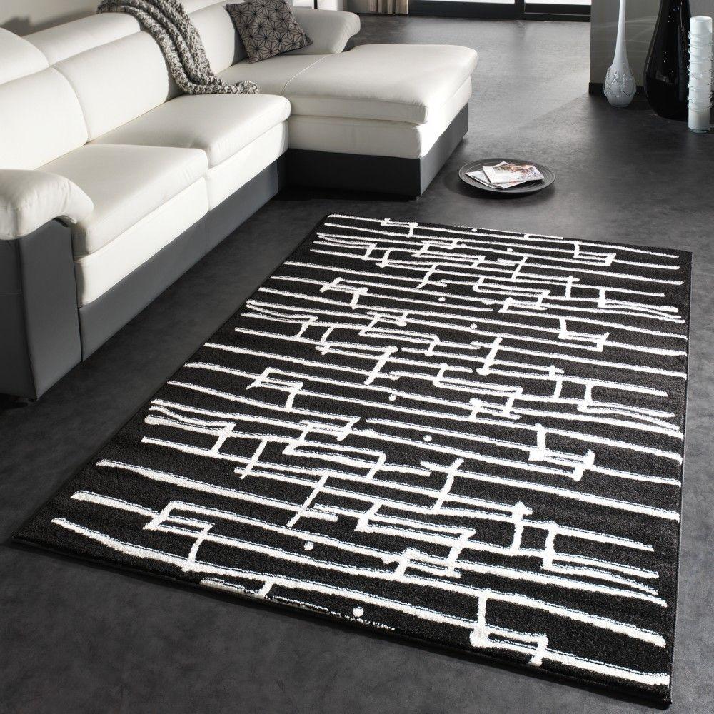 designer teppich moderner trendiger kurzflor teppich tetris in schwarz weiss teppiche. Black Bedroom Furniture Sets. Home Design Ideas