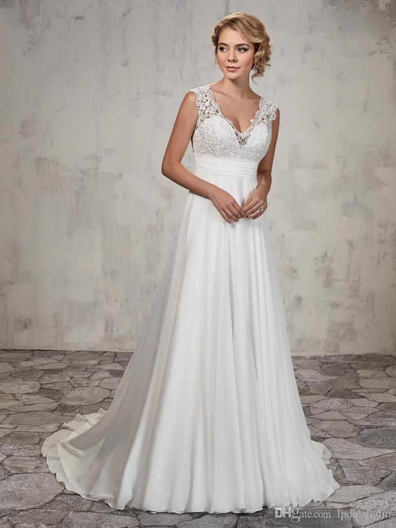 A-line Wedding Gown Features Lace Top
