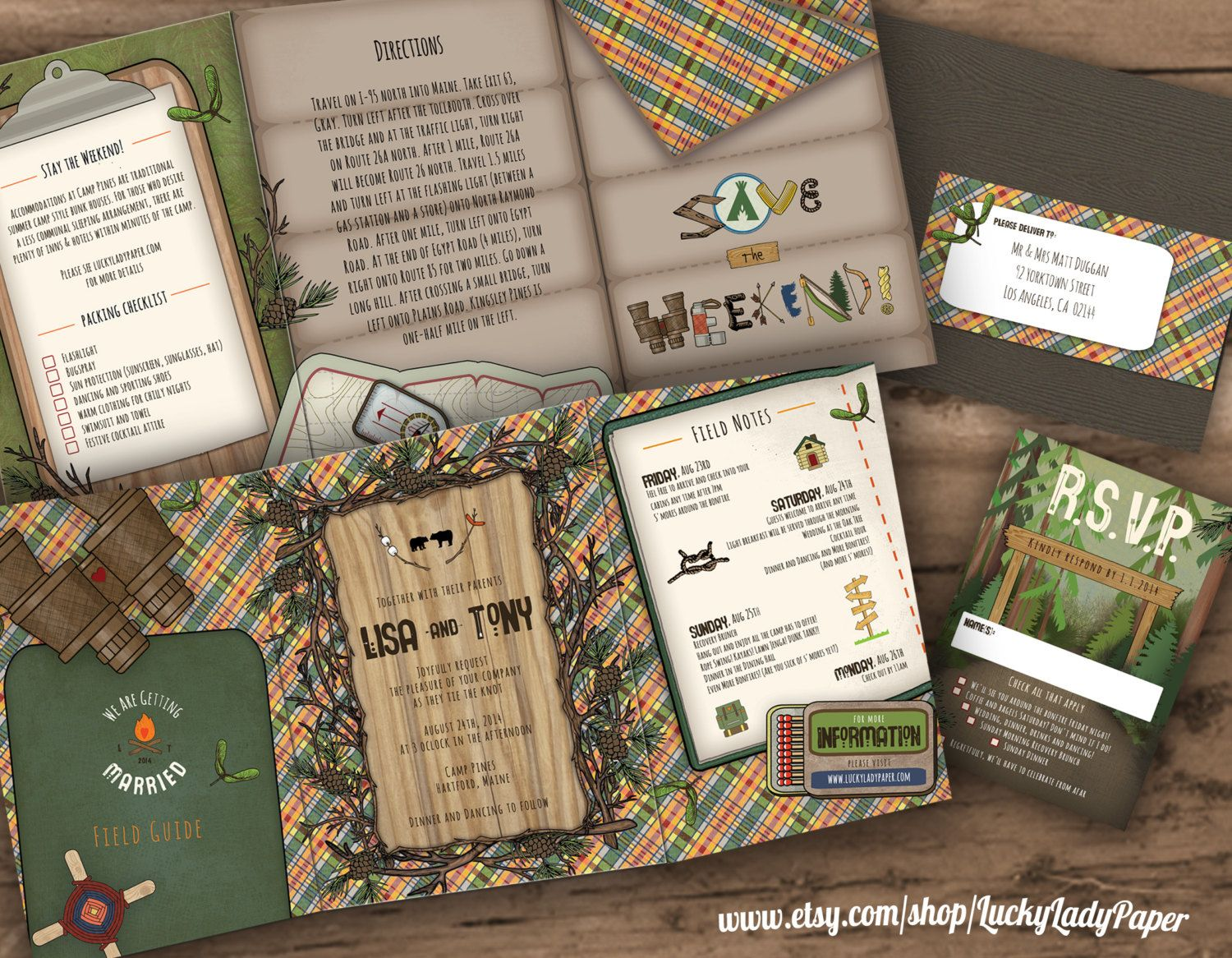 Perfect summer camp-inspired wedding invitation suite by Swiss ...