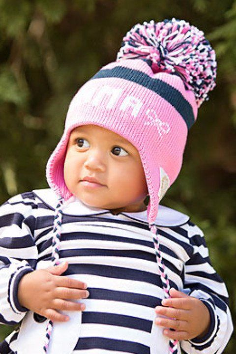 11451cb7198 Parrish Pom Pom Hat - Hot Pink and Navy with White
