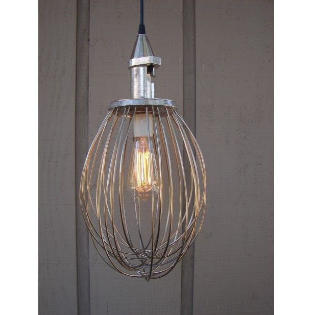 Cool Idea: Industrial Pendant Light Made From An Upcycled Whisk!