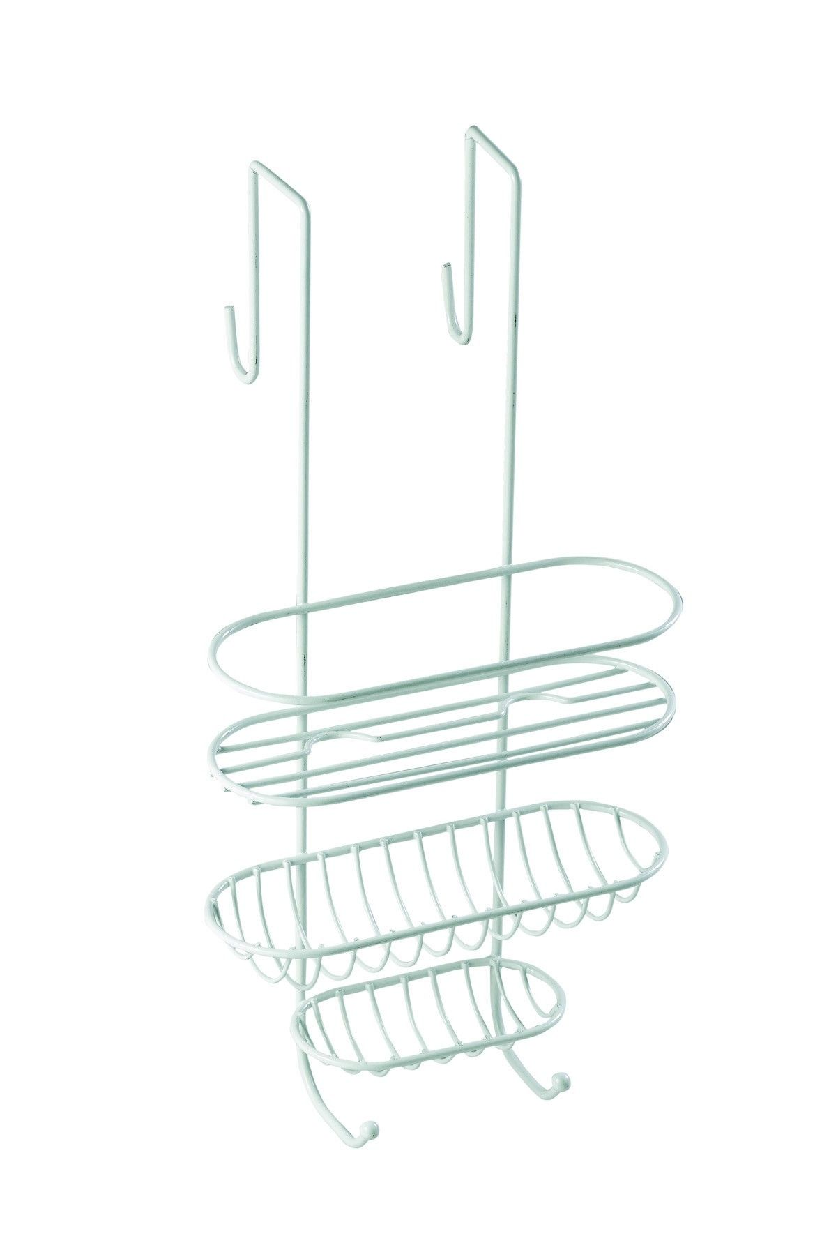 White Plastic Coated Wire Shower Caddy | Bathroom Utensils | Pinterest