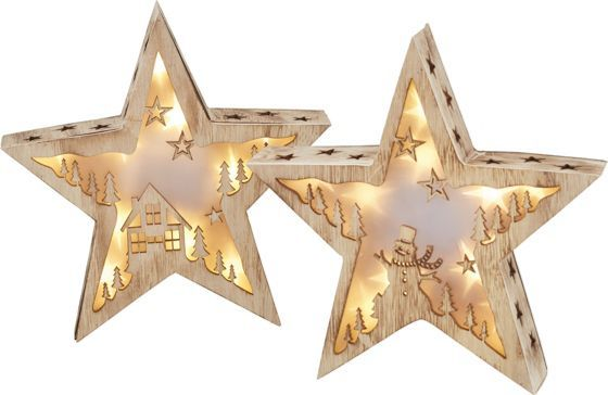 Dekoleuchte aus Holz mit LED Lichtern - Sternenzauber fürs Fensterbrett