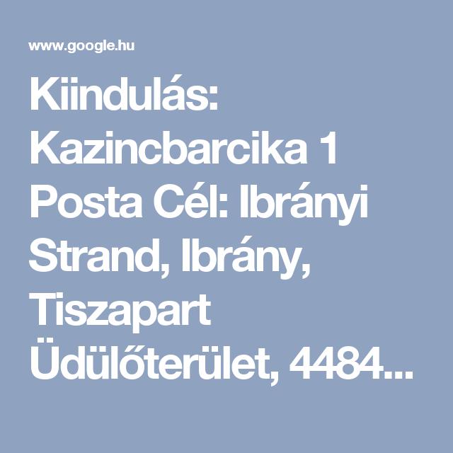 ibrány térkép Kiindulás: Kazincbarcika 1 Posta Cél: Ibrányi Strand, Ibrány  ibrány térkép