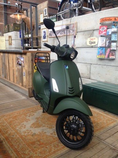 Custom Vespa Sprint Army Green Scooterspot