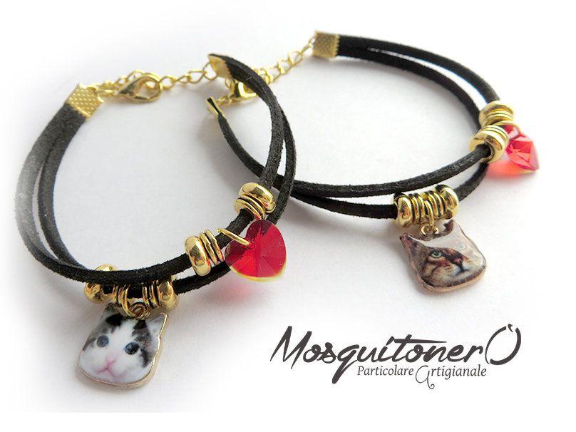 Braccialetto da donna con gatto kitty e cuore rosso bracciale gattino idea regalo, by Mosquitonero Shop, 6,90 € su misshobby.com