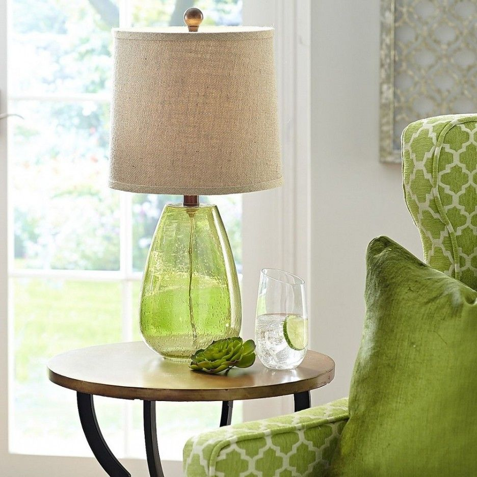 Living Room : Green Glass Table Lamp Base With Brown Burlap Table Lamp  Shade Also Unique End Table Decoration Ideas And Round Wooden End Table Top  With ...