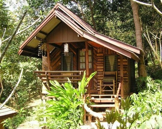 Tropical tiny cabin logs or bamboo tiny house pins for Prefab tropical homes