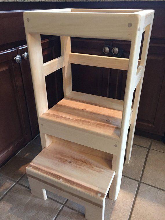 Natural Pine Children S Kitchen Play Helper Step Stool