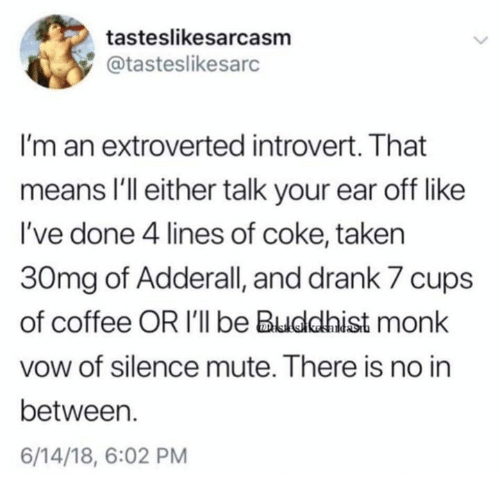 Tasteslikesarcasm I'm an Extroverted Introvert That Means I'll Either Talk Your Ear Off Like I've Done 4 Lines of Coke Taken 30mg of Adderall and Drank 7 Cups of Coffee OR I'll Be Buddhist Monk Vow of Silence Mute There Is No in Between 61418 602 PM   Introvert Meme on esmemes.com
