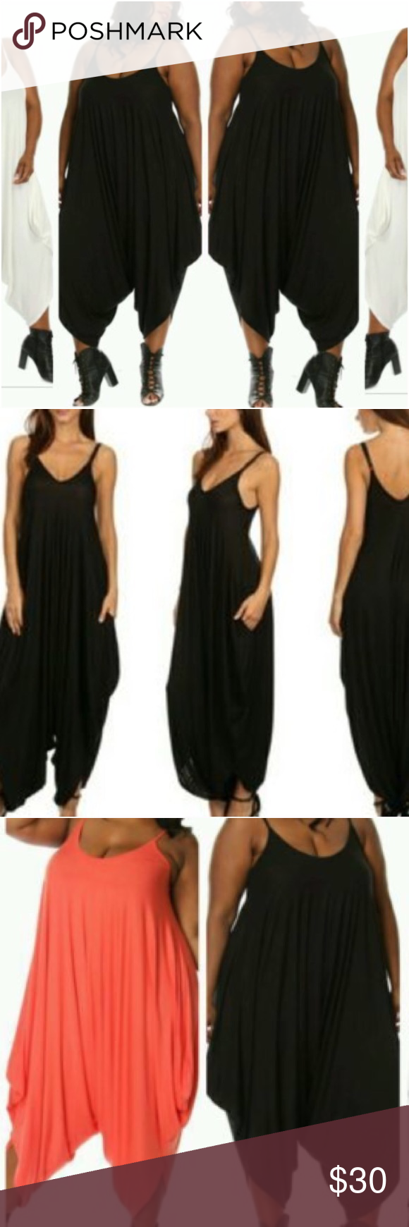 fc885ca2e78 HP-12 3 🌟 Plus Size Black Parachute Romper Super comfortable Black  spaghetti strap jumpsuit with harem style bottom. NWT Pants Jumpsuits    Rompers