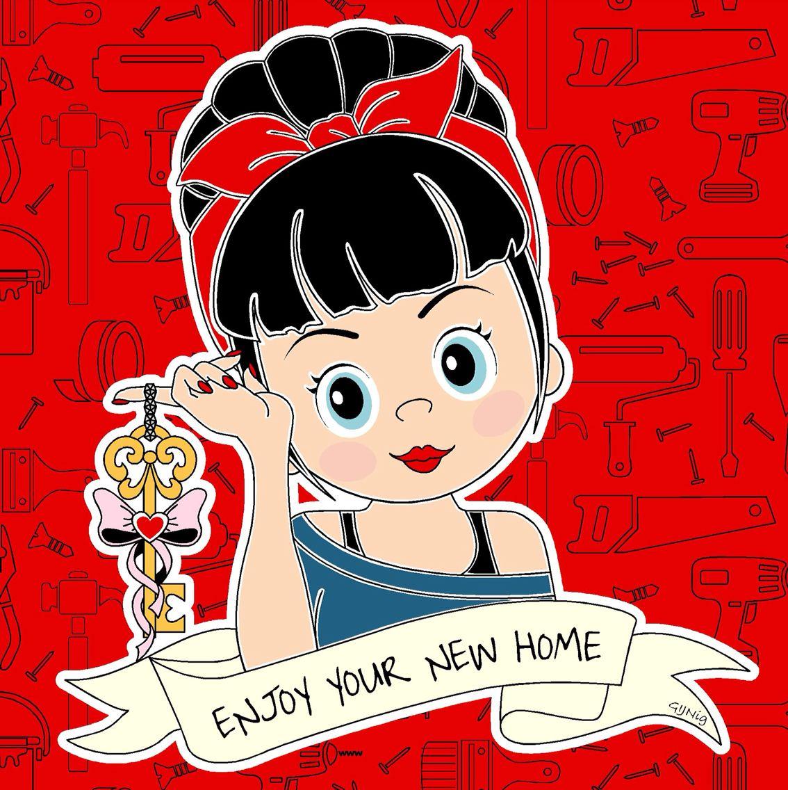 Moved Newhouse Verhuisd Key Sleutel Girl Red Tools Gereedschap Handygirl Gijnig Illustraties Afbeeldingen Letteren