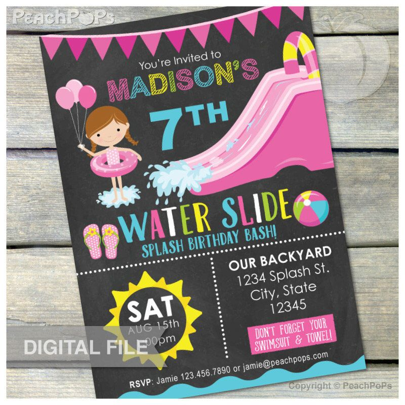 Waterslide Birthday Party Bash Invitation Chalkboard Girl Water Slide