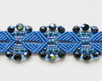 Blue macrame bracelet, beaded, micro-macrame, beadwork, beadwoven, bohemian, boho chic, gypsy queen, sea waves, knots, cuff, gift for her