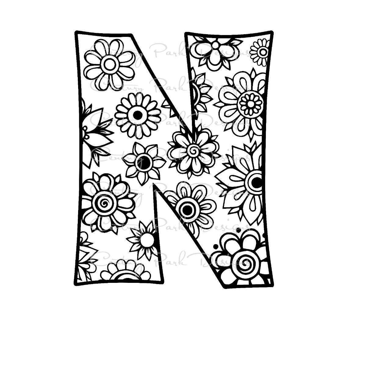 Letter N Alphabet Flowers SVG / JPEG / PNG /pdf / use with