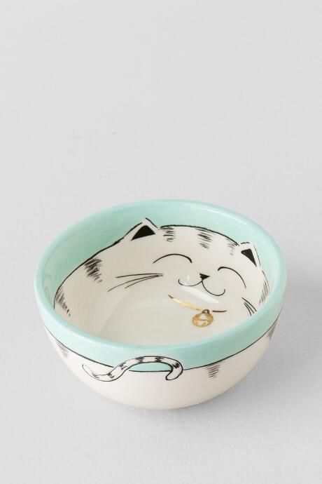 Ceramic Hand Painted Cat Bowl 8 00 Pottery Pion In
