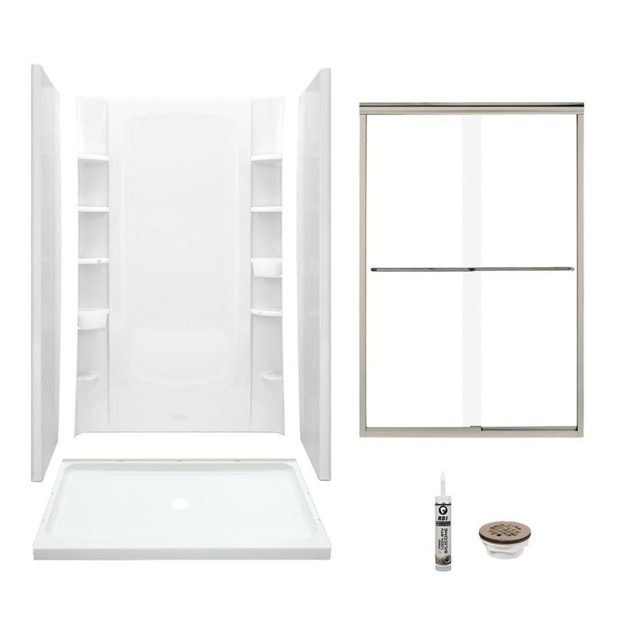 Sterling Store White 5 Piece Alcove Shower Kit Common 34 In X