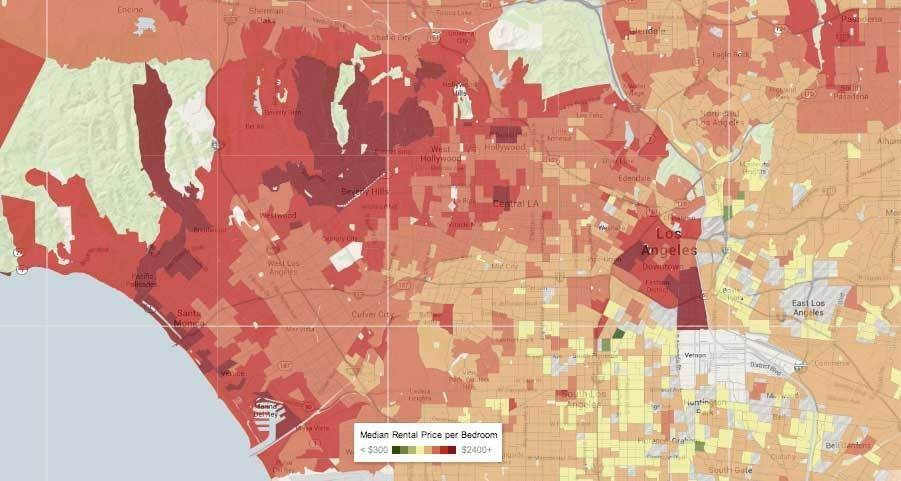 The Los Angeles Rental Price Heatmap Is Almost All Red Los Angeles Heat Map This Is Us