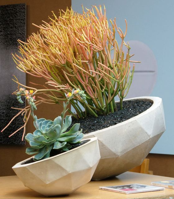 Geo Planters: hand cast concrete planters from Kelly Lamb