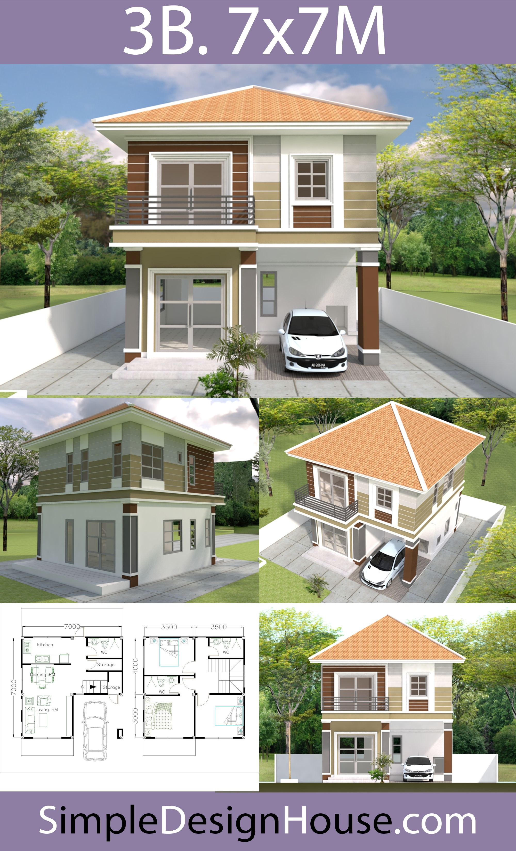 Small House Design 7x7m with 3 Beds