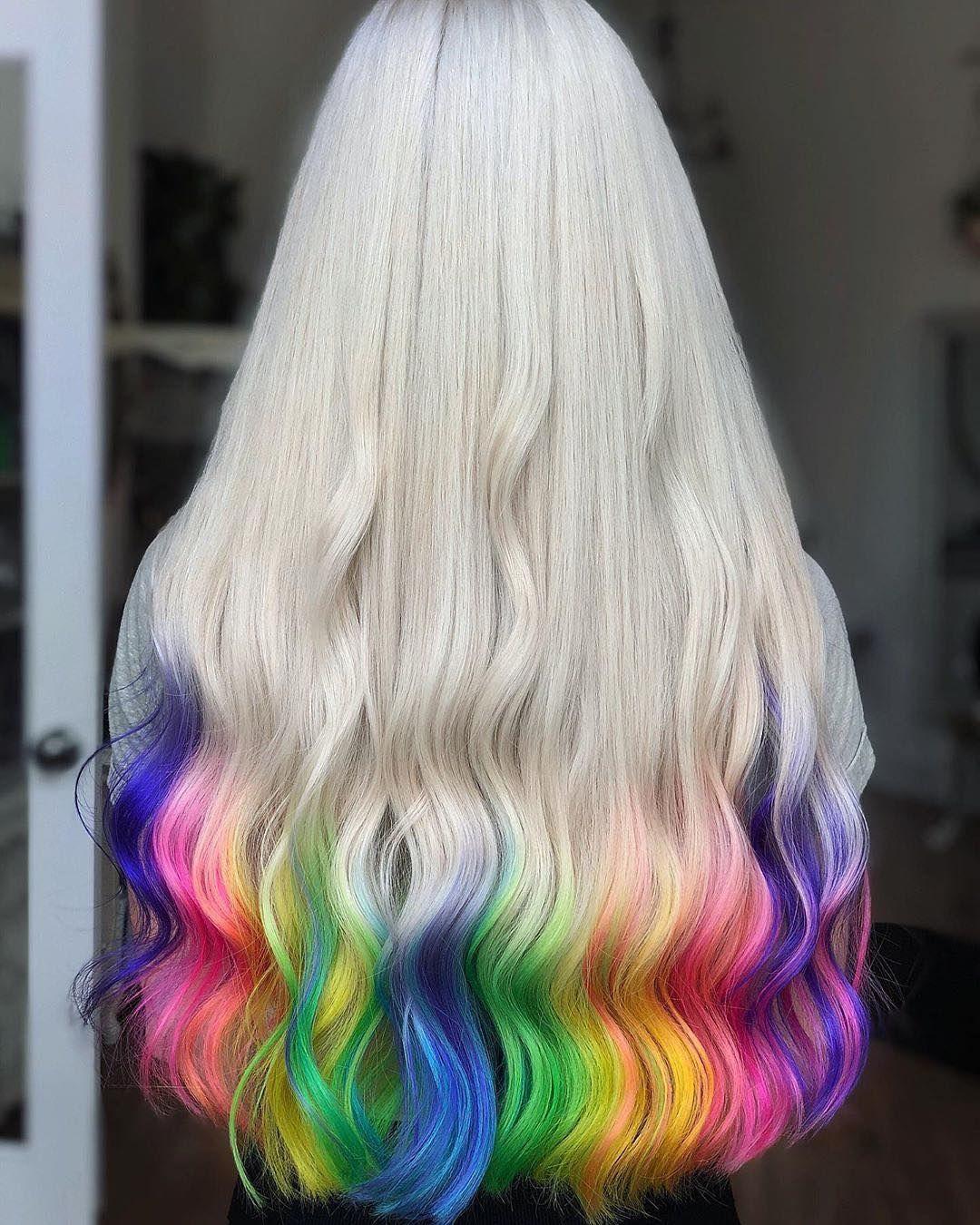 6 412 Likes 68 Comments Pravana Pravana On Instagram Rainbow D I P This Is All Her Own Hair Rainbow Hair Color Creative Hair Color Hair Highlights