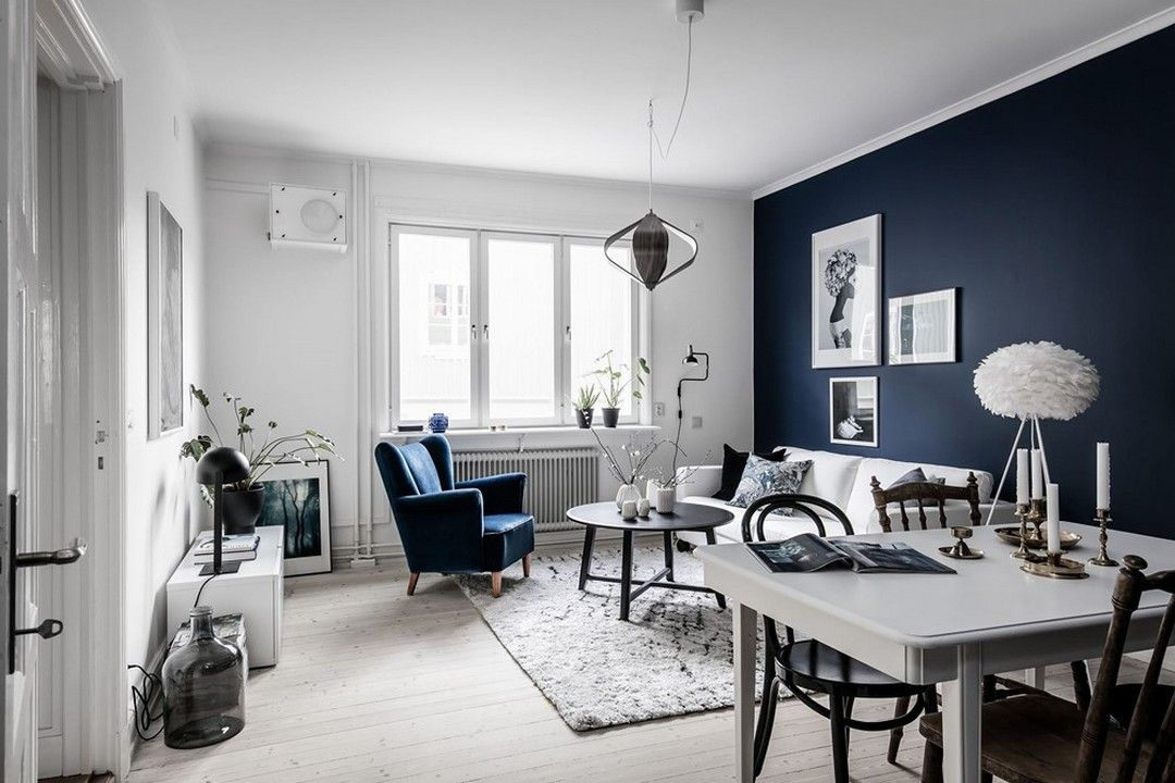 BLEU NUIT | @DECORATING IDEAS | Deco salon blanc, Peinture ...