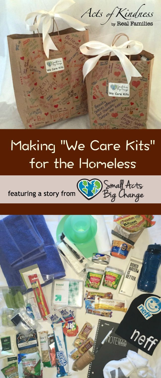 Making We Care Kits For The Homeless Moments A Day Humanitarian Projects Homeless Care Package Community Service Ideas