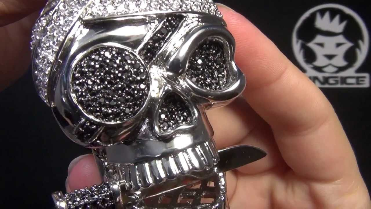 King ice pirate skull iced out pendant hip hop jewelry kingice