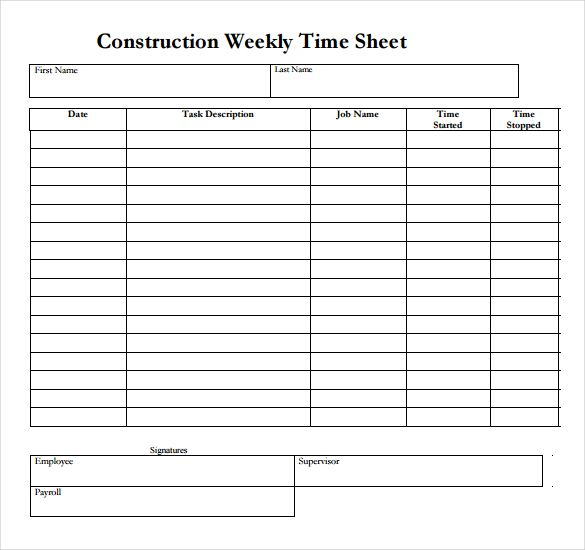 WEEKLY EMPLOYEE PAYROLL RECORD - Google Search construction - payroll sheet template