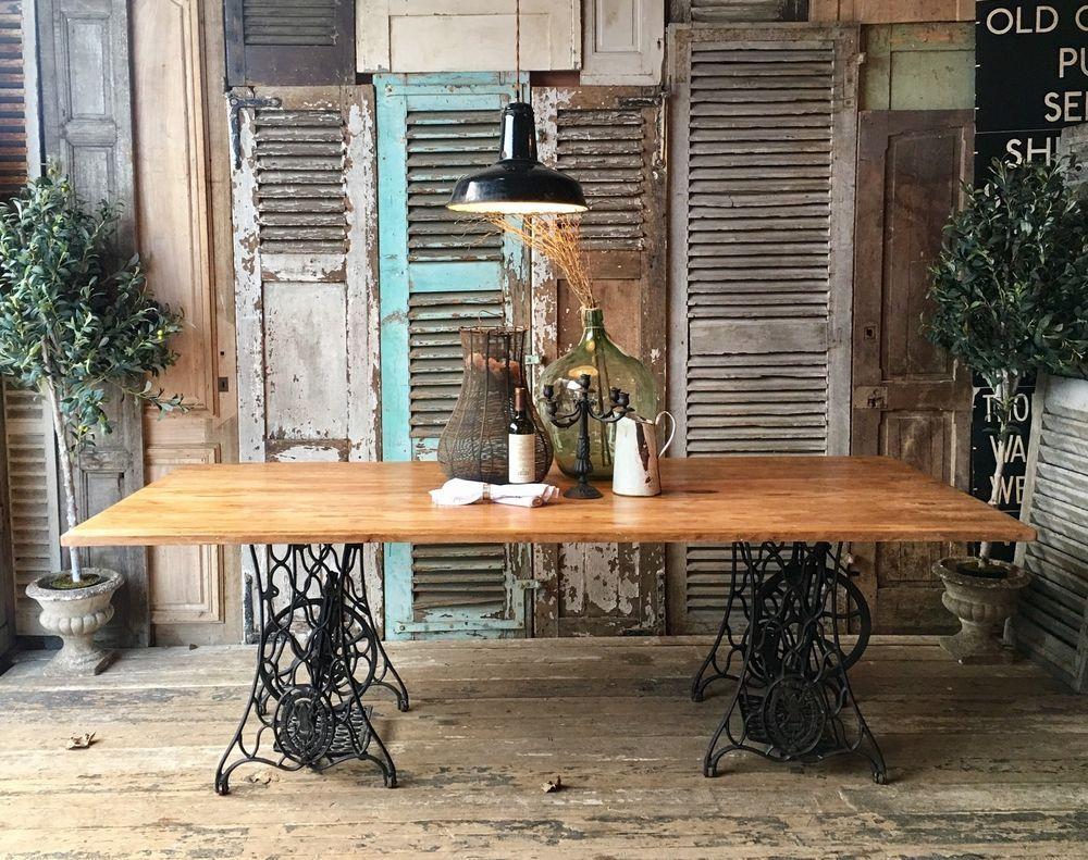 Vintage Rustic Industrial Beech Top Dining Table On Singer