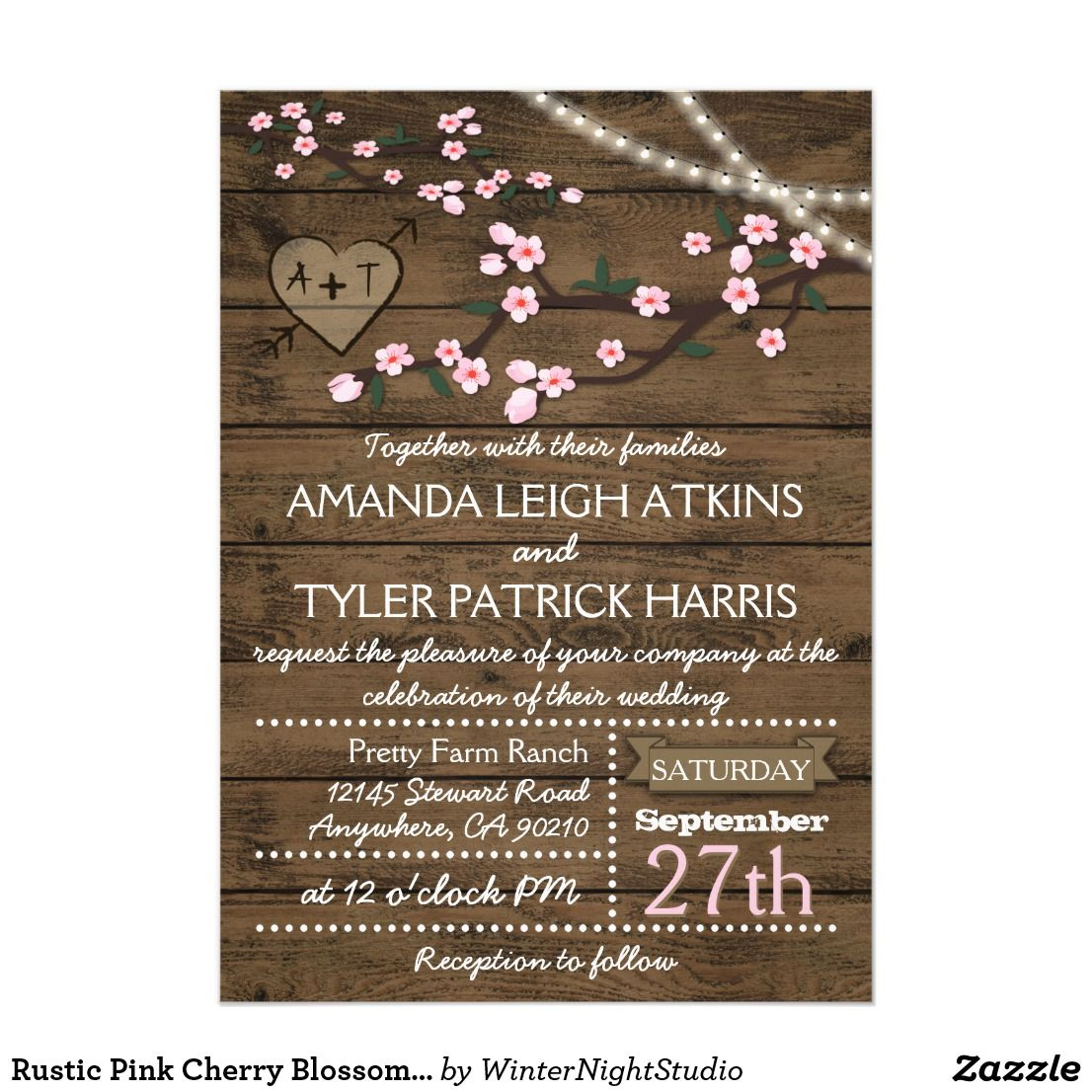 Rustic Pink Cherry Blossom Wedding Invitations | Pinterest | Country ...