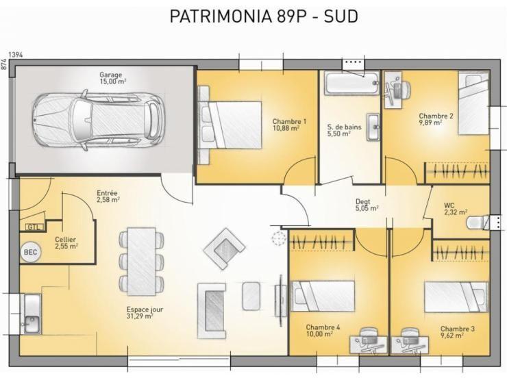 Plans de maison  modèle Patrimonia  maison traditionnelle à étage - Plan Gratuit Maison Plain Pied