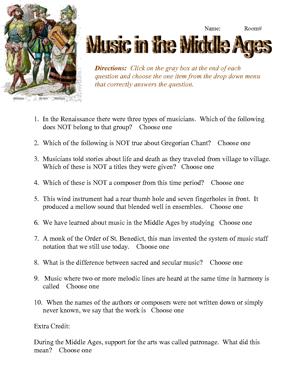 Worksheets General Music Worksheets middleagesforkidsworksheets middle ages worksheet doc general