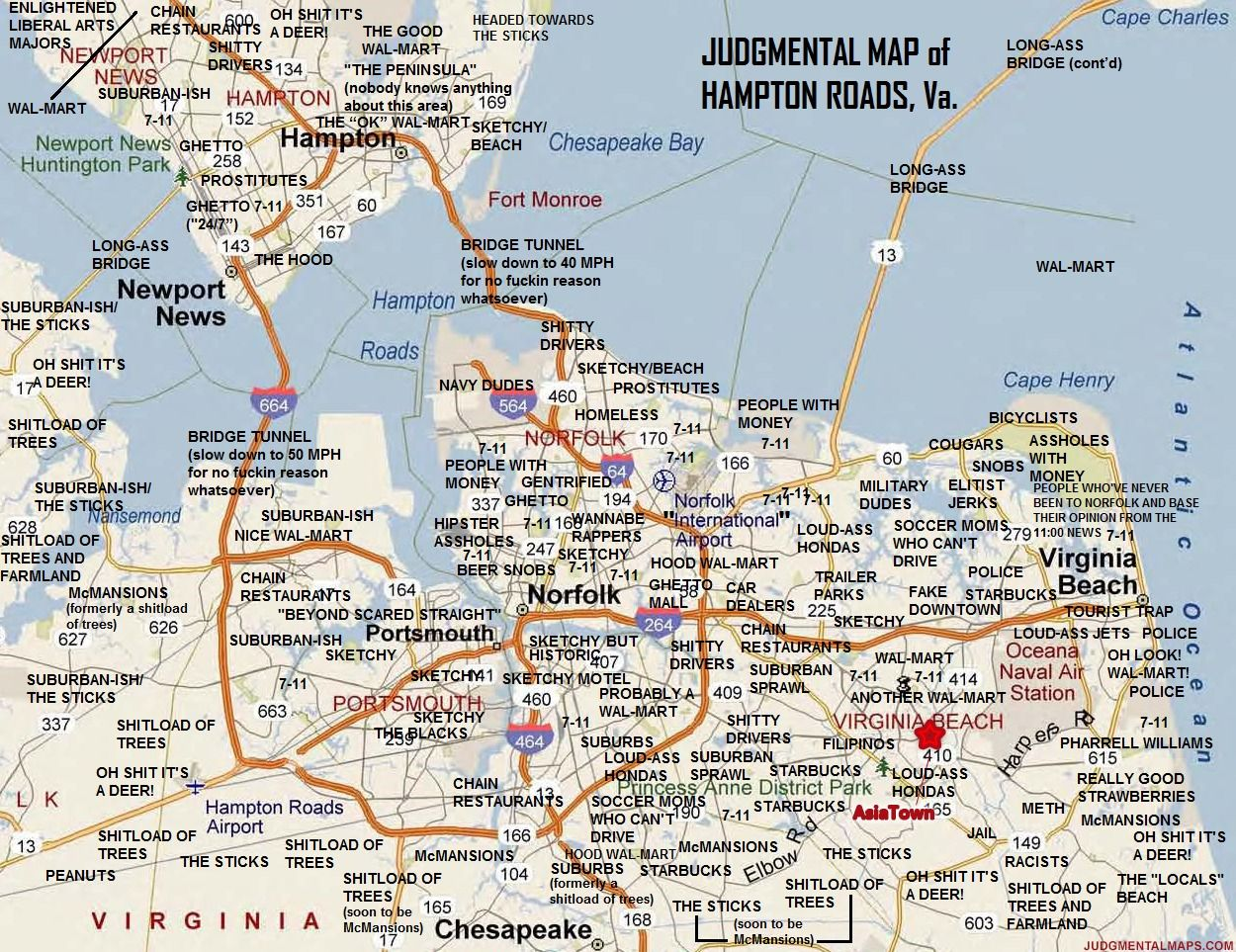 Judgemental Map of Hampton Roads, VA by Ace Ace Copr. 2014. All ...