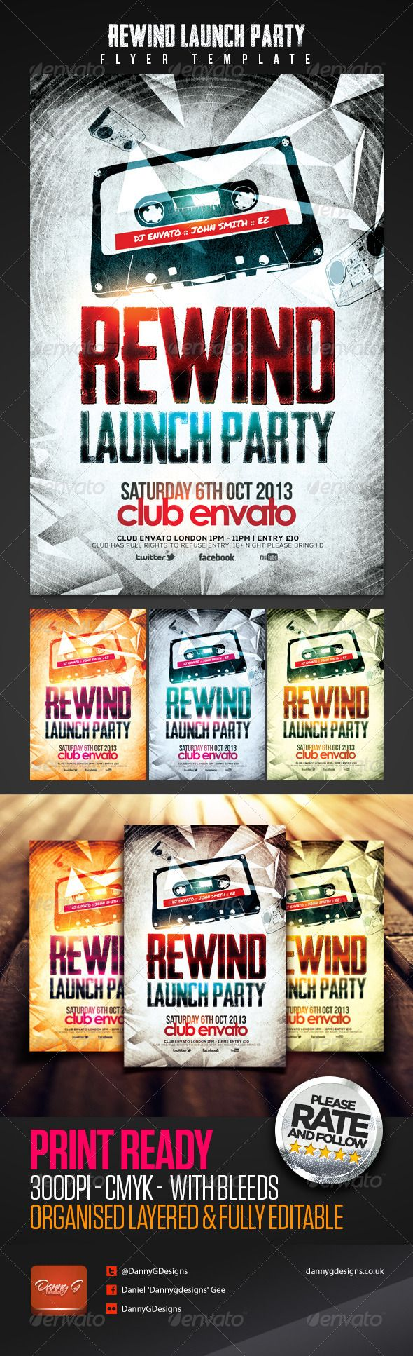 Rewind Launch Party Flyer Template | Flyer size, Party flyer and ...