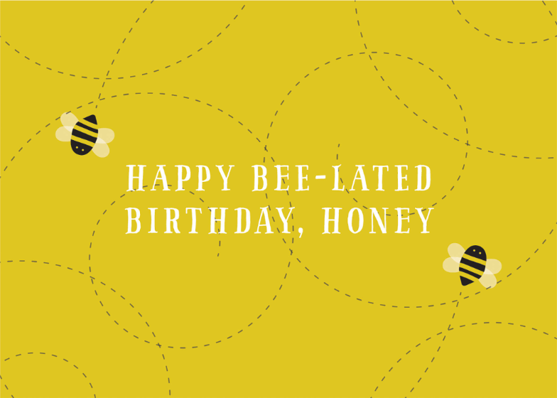 Busy Bee Birthday Card Free Greetings Island Bee Birthday Cards Belated Birthday Card First Birthday Favors