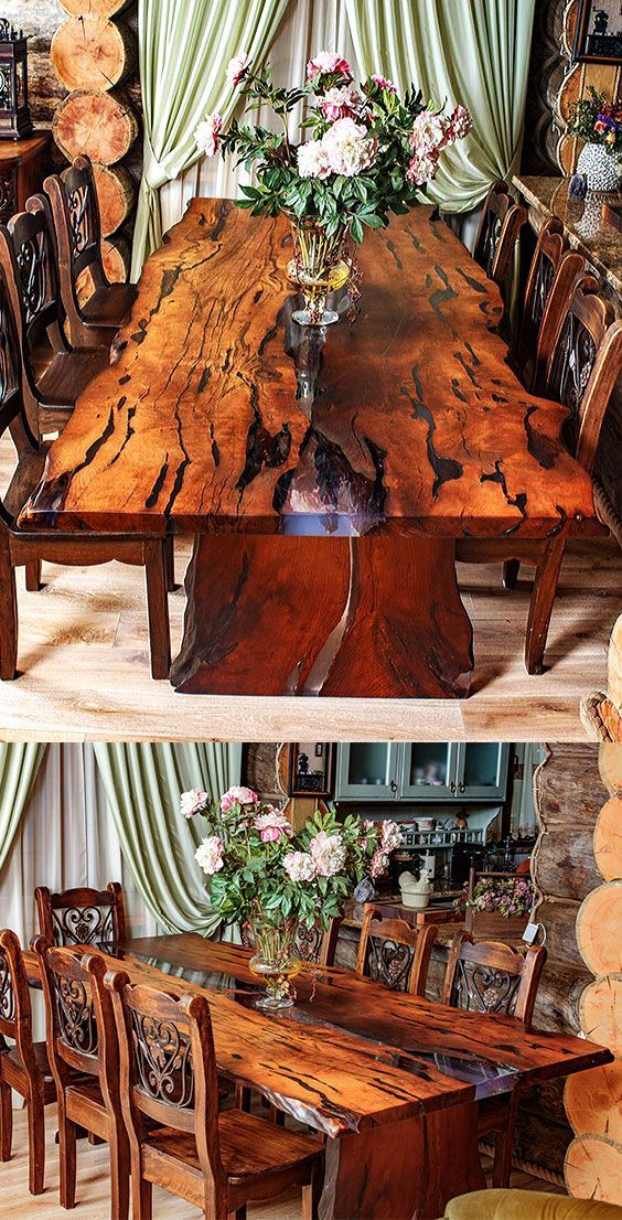 A Beautiful Dining Table For 6 Person Is Made Of Slabs Of Wood With A Very Beautiful Texture And A Natural Live Edge Wood Table Design Wood Slab Wood Table