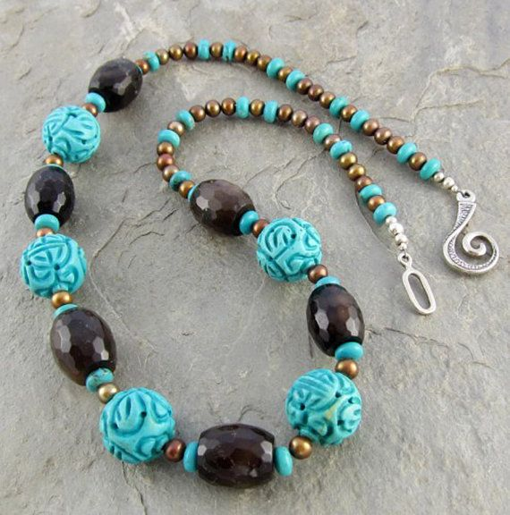 Turquoise Necklace Brown Agate Pearls by LindaLandigJewelry