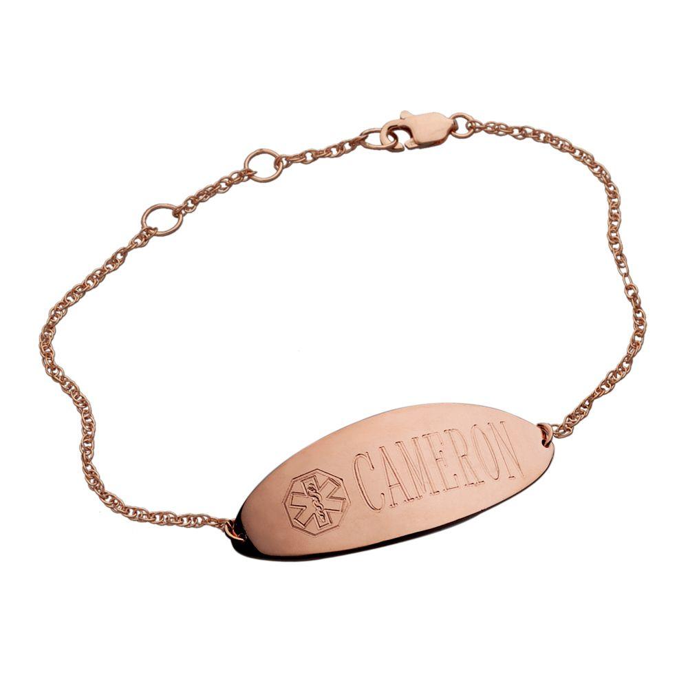 Oval Link Pink Symbol Pre-Engraved /& Customizable Treenut Allergy Alert Bracelet My Identity Doctor