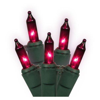 Vickerman 100 ct. Purple Mini Lights Lock Set with Green Wire 5.5 in. Spacing - Set of 2 - VKR2440-1