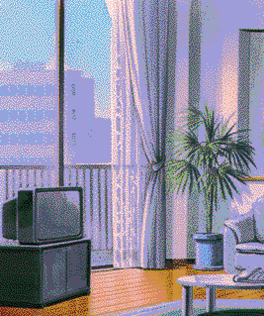 Vaporwave Room Beutiful Living Room Wthi Tv And Plant Vaporwave