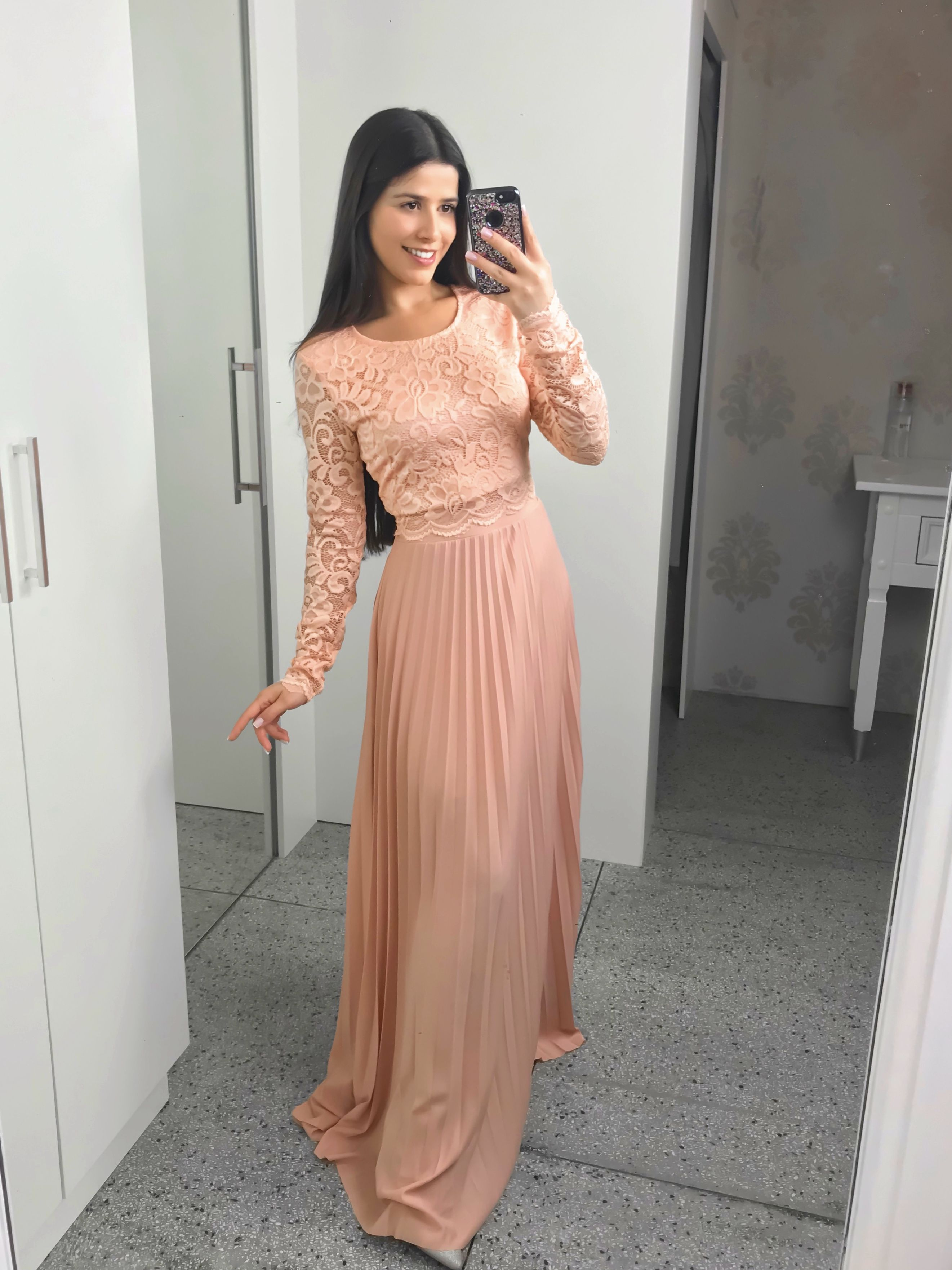 d7627f8857 saia longa plissada rose + cropped renda rose moda evangelica elegante