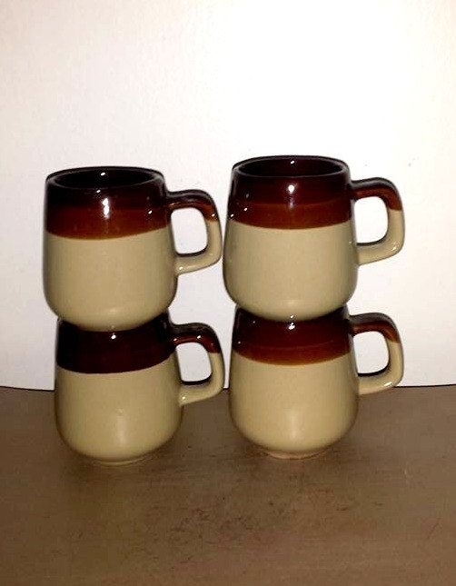 Vintage Stoneware Coffee Mugs Set Of 4 Brown And Tan Dripware Cups Cup Pottery By Junkyardblonde