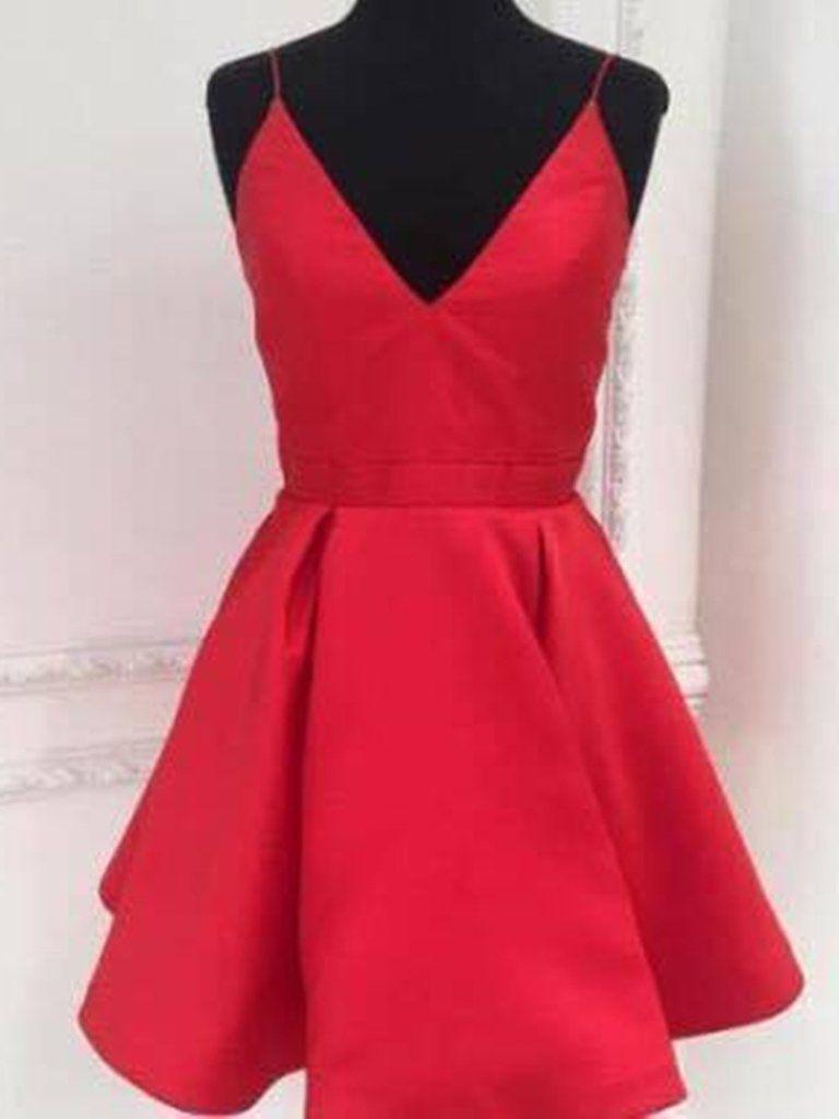 Custom made a line v neck short red prom dresses short v neck