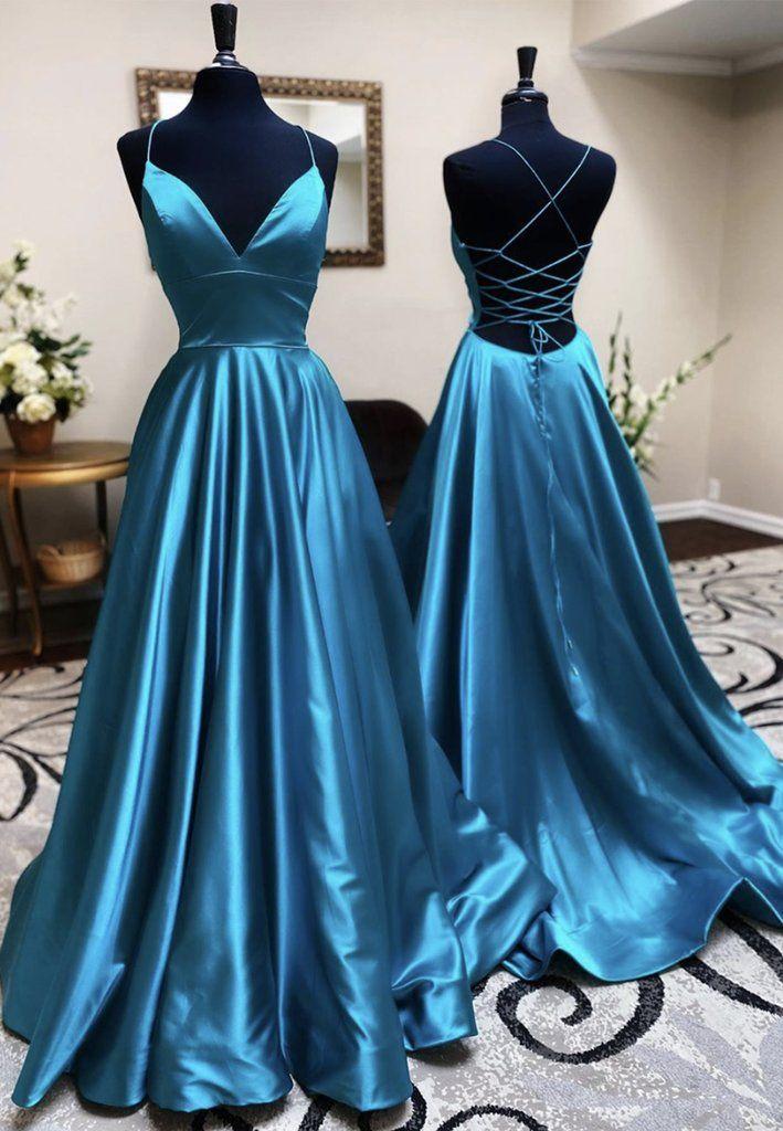 2020 Simple v neck satin long prom dress blue evening dress