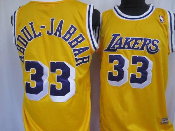 c437cd888bc Mitchell Ness Lakers  33 Abdul-Jabbar Yellow Throwback Stitched NBA Jersey