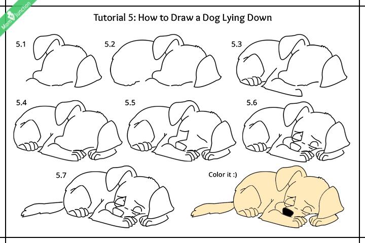 Dog Lying Down Drawing Easy Dunia Belajar
